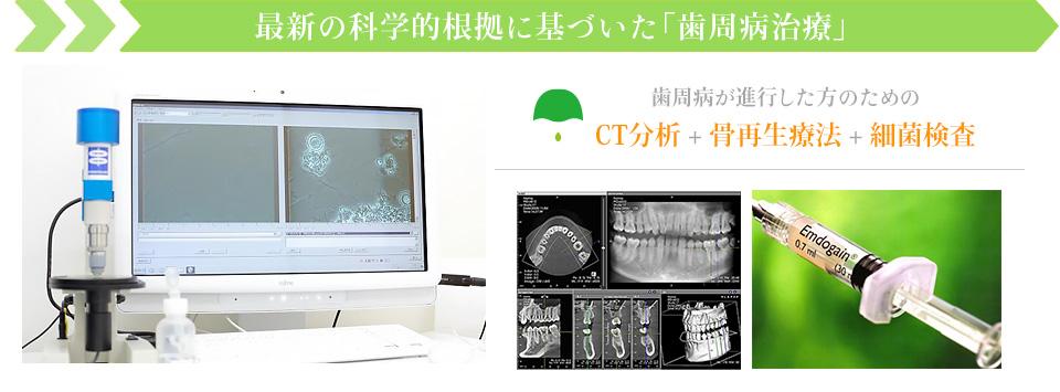 最新の科学的根拠に基づいた「歯周病治療」歯周病が進行した方のためのCT分析 + 骨再生療法 + 細菌検査